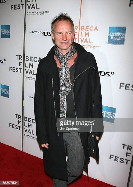 """Sting attends the premiere of """"Moon"""" during the 8th Annual Tribeca Film Festival at BMCC Tribeca Performing Arts Center on April 30, 2009 in New York..."""