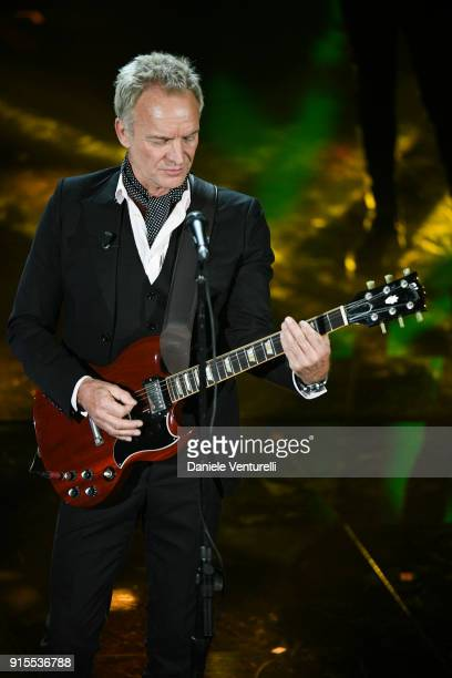 Sting attends the second night of the 68 Sanremo Music Festival on February 7 2018 in Sanremo Italy