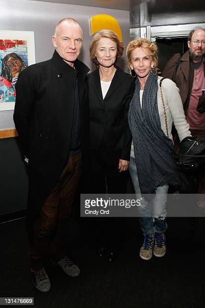 Sting Charlotte Rampling and Trudie Styler attend a screening of Charlotte Rampling The Look at Lincoln Plaza on November 4 2011 in New York City