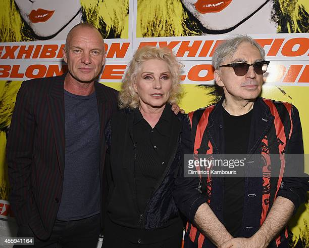 Sting, Debbie Harry and Chris Stein attend The 40th Anniversary Of Blondie exhibition at Chelsea Hotel Storefront Gallery on September 22, 2014 in...