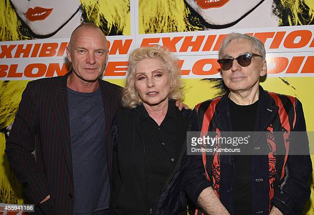 Sting Debbie Harry and Chris Stein attend The 40th Anniversary Of Blondie exhibition at Chelsea Hotel Storefront Gallery on September 22 2014 in New...