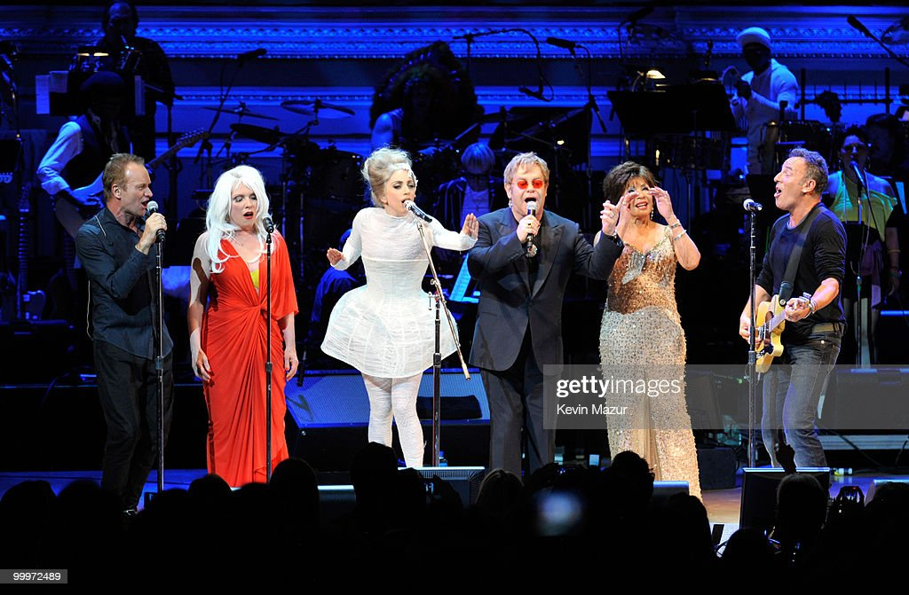 Sting, Debbie Harry, Lady Gaga, Elton John, Dame Shirley Bassey and Bruce Springsteen perform on stage during the Almay concert to celebrate the Rainforest Fund's 21st birthday at Carnegie Hall on May 13, 2010 in New York City.