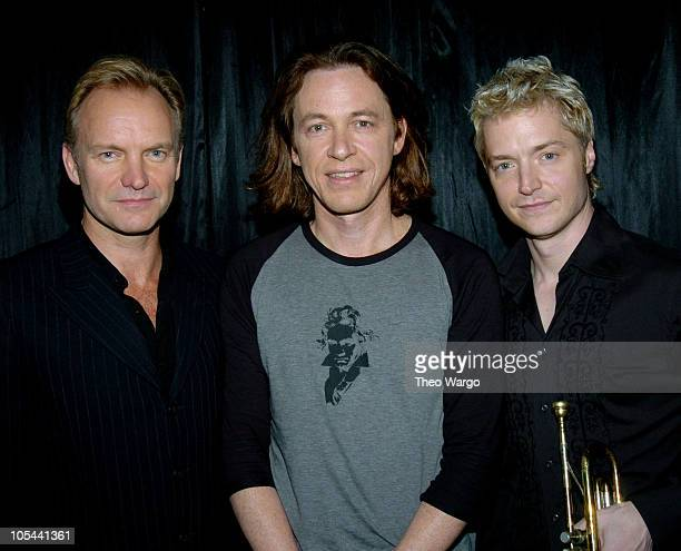 Sting Dominic Miller and Chris Botti during Dominic Miller Record Release Party and Performance at Joes Pub in New York City New York United States