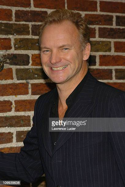 Sting during Sting and Viggo Mortensen Arrive for Taping of The Late Show with David Letterman at Ed Sullivan Theater in New York City New York...