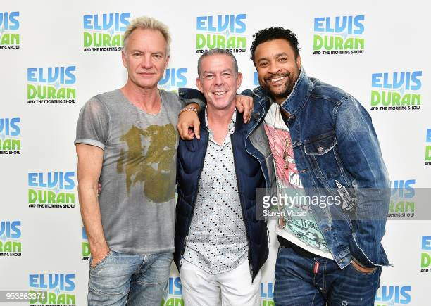 Sting Elvis Duran and Shaggy pose for photo at The Elvis Duran Z100 Morning Show at Z100 Studio on May 1 2018 in New York City