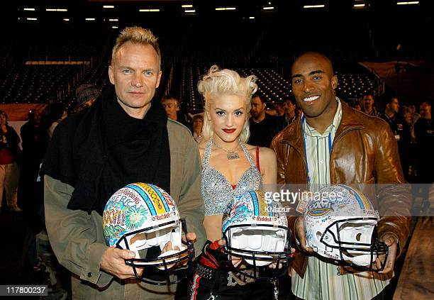 Sting, Gwen Stefani and Tiki Barber during Super Bowl XXXVII - AT&T Wireless Super Bowl XXXVII Halftime Show - Rehearsal at Qualcomm Stadium in San Diego, California, United States.
