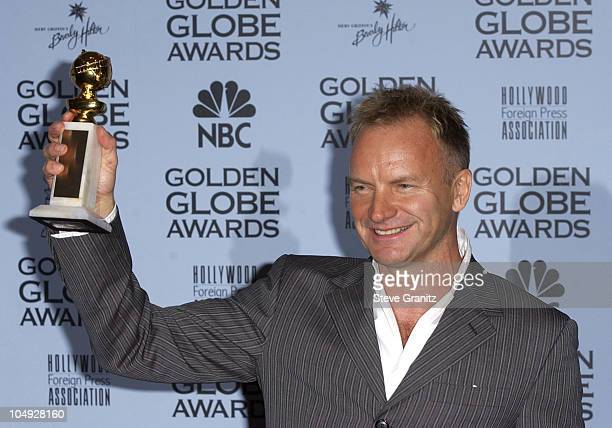 Sting holds his award for Best Original Song Until from Kate Leopold at the 59th Annual Golden Globe Awards January 20 2002 at the Beverly Hilton in...