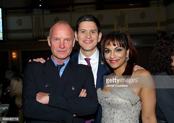 Sting IRC President and CEO David Miliband and opera singer Danielle de Niese attend the Annual Freedom Award Benefit Event hosted by International...