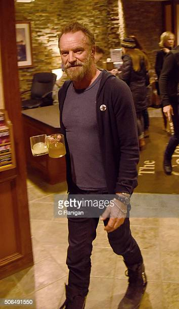 Sting is seen arriving to his scheduled performance at the ASCAP Music Cafe during the 2016 Sundance Film Festival on January 23 2016 in Park City...