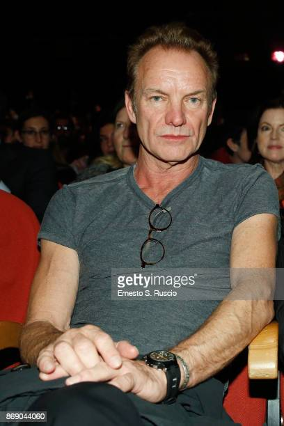 Sting is seen at the 'Ian McKellen meets the audience' during the 12th Rome Film Fest at Auditorium Parco Della Musica on November 1 2017 in Rome...