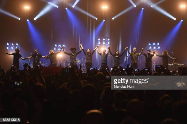 Sting Joe Sumner and The Last Bandoleros take a bow onstage during the Sting 57th 9th World Tour at Hammerstein Ballroom on March 14 2017 in New York...