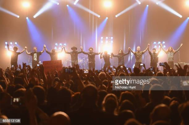 """Sting, Joe Sumner, and The Last Bandoleros take a bow onstage during the Sting """"57th & 9th"""" World Tour at Hammerstein Ballroom on March 14, 2017 in..."""