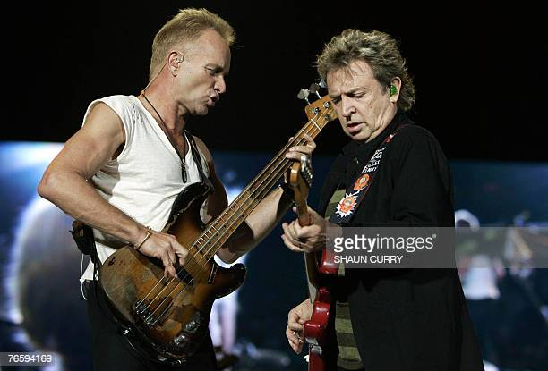Sting, Lead singer of the British rock band The Police and guitarist Andy Summers perform at the Twickenham stadium, west of London as part of their...