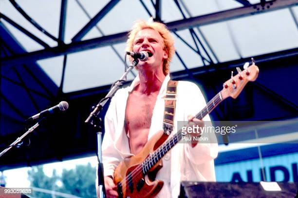 Sting of the Police performs on stage at Comiskey Park in Chicago, Illinois, July 23, 1984.