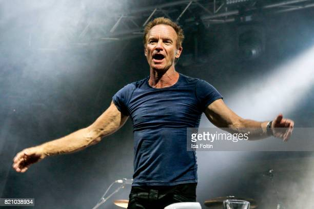 Sting perform on stage during the Thurn Taxis Castle Festival 2017 on July 22 2017 in Regensburg Germany
