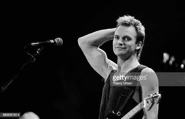 Sting performing in concert at the Bercy in Paris in 1985.
