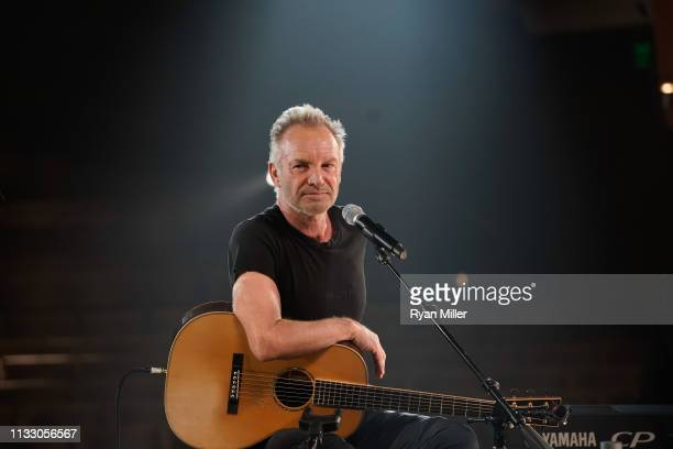 Sting performs at a sneak peek event for The Last Ship at Center Theatre Group/Ahmanson Theatre on March 26 2019 in Los Angeles California