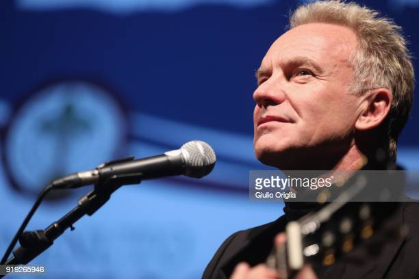 Sting performs during Benvenuto Brunello 2018 at Teatro degli Astrusi on February 17 2018 in Montalcino Italy