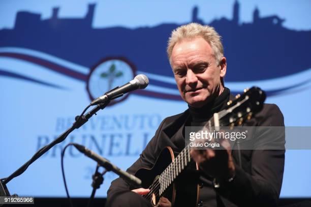 Sting performs during Benvenuto Brunello 2018 at Teatro degli Astrusi on February 17 2018 in Montalcino Italy