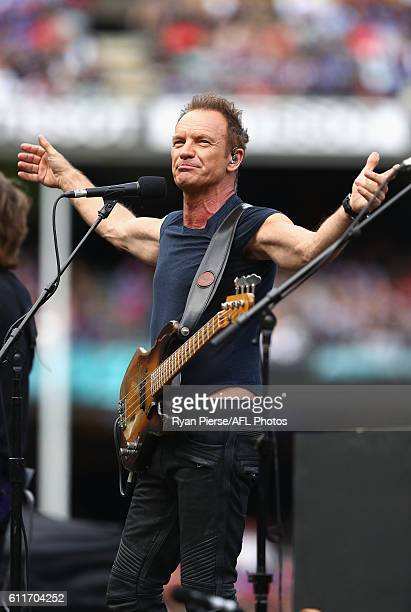 Sting performs during the 2016 Toyota AFL Grand Final match between the Sydney Swans and the Western Bulldogs at the Melbourne Cricket Ground on...