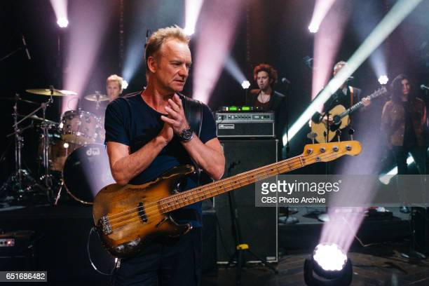 Sting performs during 'The Late Late Show with James Corden' Wednesday March 8 2017 On The CBS Television Network