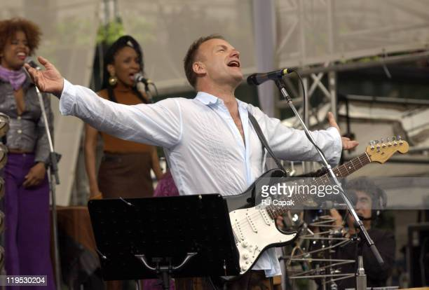 Sting performs in Bryant Park during Sting gives free concert in Bryant Park as part of Microsoft's release of Windows XP in New York City New York...