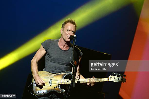Sting performs on stage during Advertising Week New York 2016 DAD Impact at the PlayStation Theater on September 27 2016 in New York City