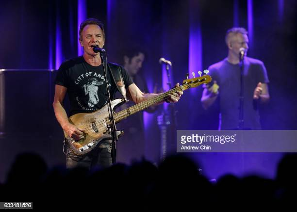 Sting performs on stage during his '57th 9th' tour opener at Commodore Ballroom on February 1 2017 in Vancouver Canada