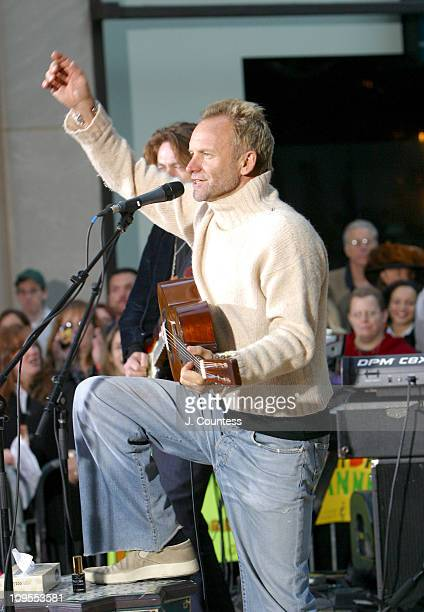 Sting performs on stage during Sting performs on The Today Show Concert Series October 2 2003 at NBC Studios Rockefeller Center in New York City New...