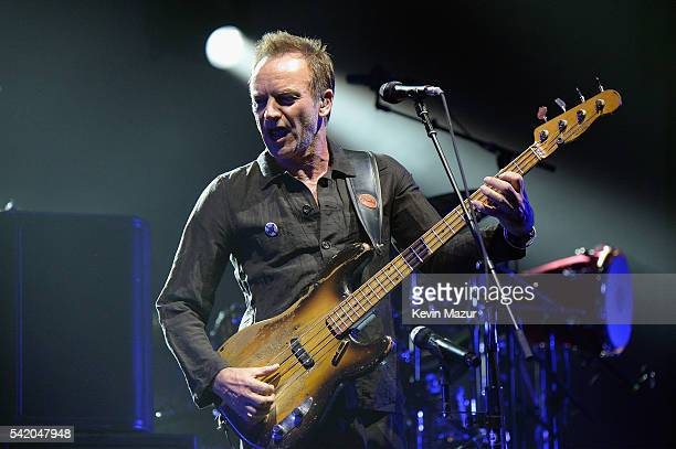 Sting performs on stage during the 'Rock Paper Scissors' tour opener at Nationwide Arena on June 21 2016 in Columbus Ohio