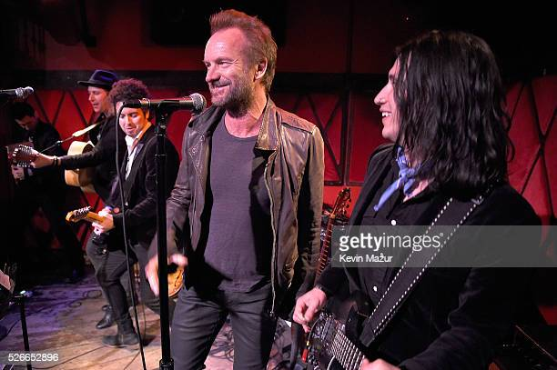 Sting performs with The Last Bandoleros at Rockwood Music Hall on April 30, 2016 in New York City.