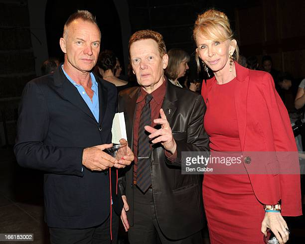 Sting Philippe Petit and Trudie Styler attend Philippe Petit's Why Knot Book Launch Party at Cathedral of St John the Divine on April 9 2013 in New...