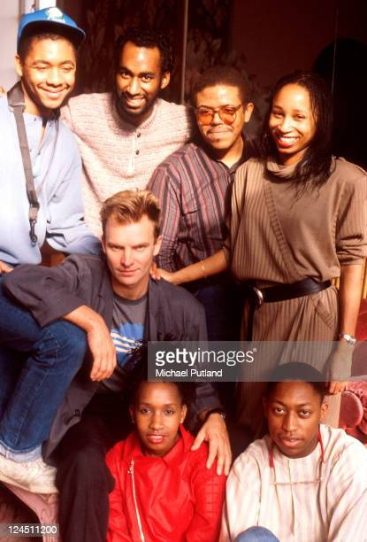 Sting portrait with Branford Marsalis and band during his first solo tour rehearsals New York February 1985
