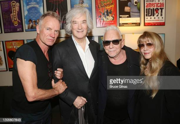 """Sting, Producer Karl Sydow, Eric Burdon of """"The Animals"""" and Stevie Nicks pose backstage at the musical """"The Last Ship"""" at The Ahmanson Theatre on..."""