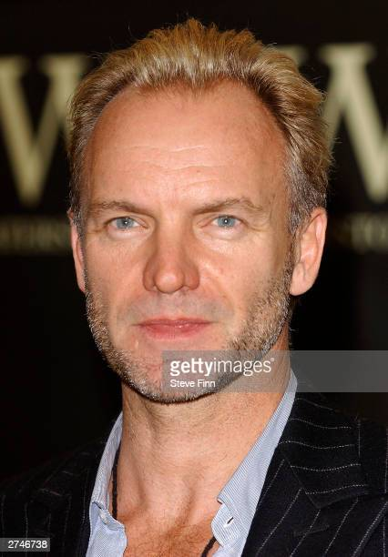 Sting signs copies of his autobiography Broken Music at Waterstone's Piccadilly on November 20 2003 in London