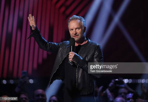 Sting speaks before presenting the award for RB / Soul Recording of the Year during the 2019 Juno Awards at Budweiser Gardens on March 17 2019 in...