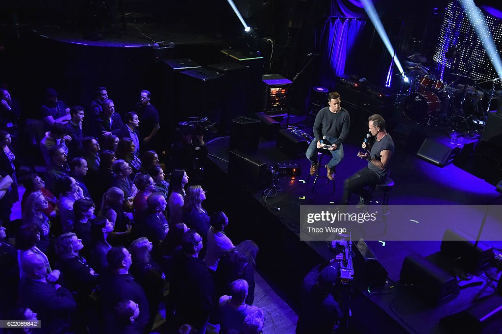 Sting speaks with host Dave Styles during soundcheck at the 57th and 9th iHeartRadio Album Release Party on AT&T at Irving Plaza on November 9, 2016 in New York, NY.