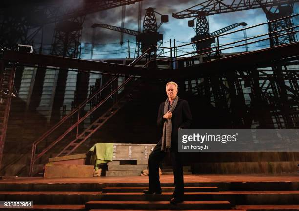 Sting stands on stage for pictures during 'The Last Ship' photocall at Northern Stage on March 16 2018 in Newcastle Upon Tyne England Sting's Tony...