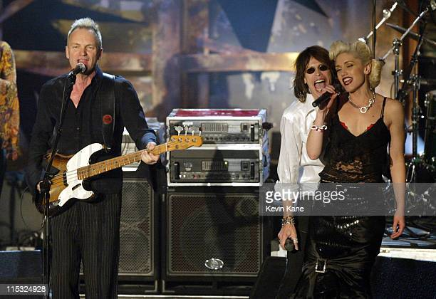 Sting Steven Tyler and Gwen Stefani during The 18th Annual Rock and Roll Hall of Fame Induction Ceremony Show at The Waldorf Astoria in New York City...
