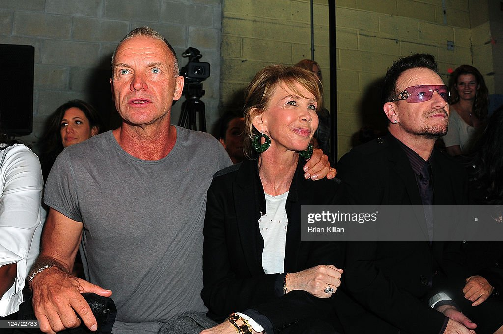 Sting, Trudie Styler, and Bono attend the Edun Spring 2012 fashion show during Mercedes-Benz Fashion Week at 330 West Street on September 11, 2011 in New York City.