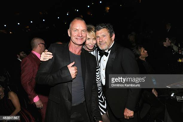 Sting, Trudie Styler and Jann Wenner attend the 29th Annual Rock And Roll Hall Of Fame Induction Ceremony at Barclays Center of Brooklyn on April 10,...