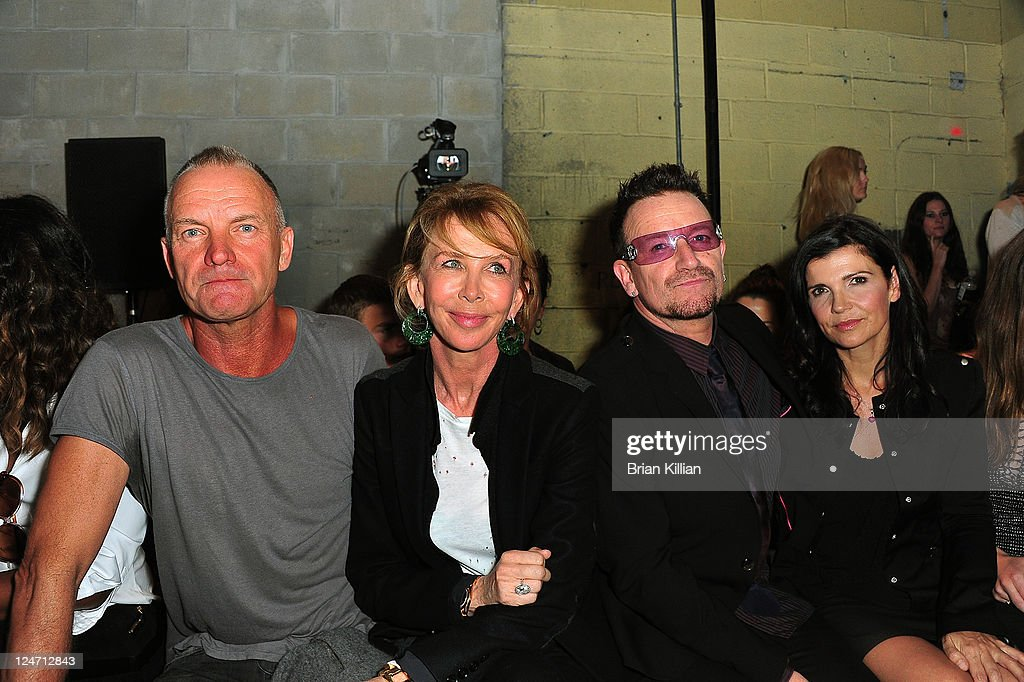Sting, Trudy Styler, Bono and Alison Hewson attend the Edun Spring 2012 fashion show during Mercedes-Benz Fashion Week at 330 West Street on September 11, 2011 in New York City.