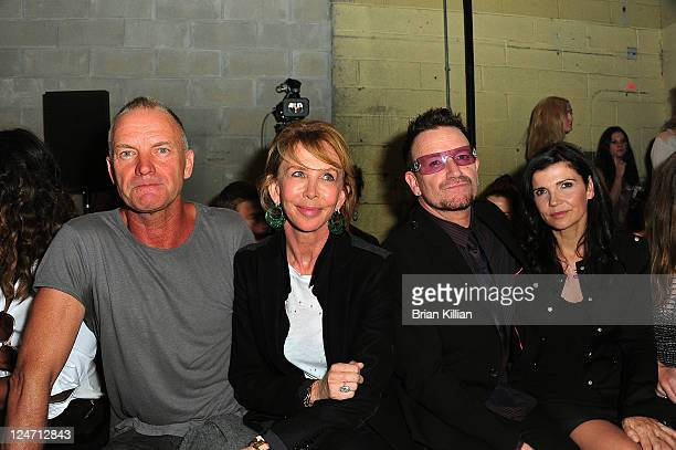 Sting Trudy Styler Bono and Alison Hewson attend the Edun Spring 2012 fashion show during MercedesBenz Fashion Week at 330 West Street on September...