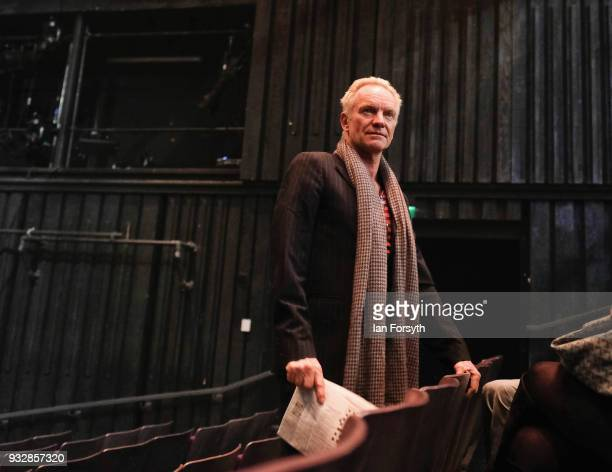 Sting waits for the start of rehearsals during 'The Last Ship' photocall at Northern Stage on March 16 2018 in Newcastle Upon Tyne England Sting's...
