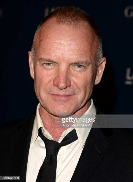 Sting, wearing Gucci, attends the LACMA 2013 Art + Film Gala honoring Martin Scorsese and David Hockney presented by Gucci at LACMA on November 2,...