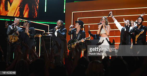 Sting Ziggy Marley Bruno Mars and Rihanna perform onstage during the 55th Annual GRAMMY Awards at STAPLES Center on February 10 2013 in Los Angeles...