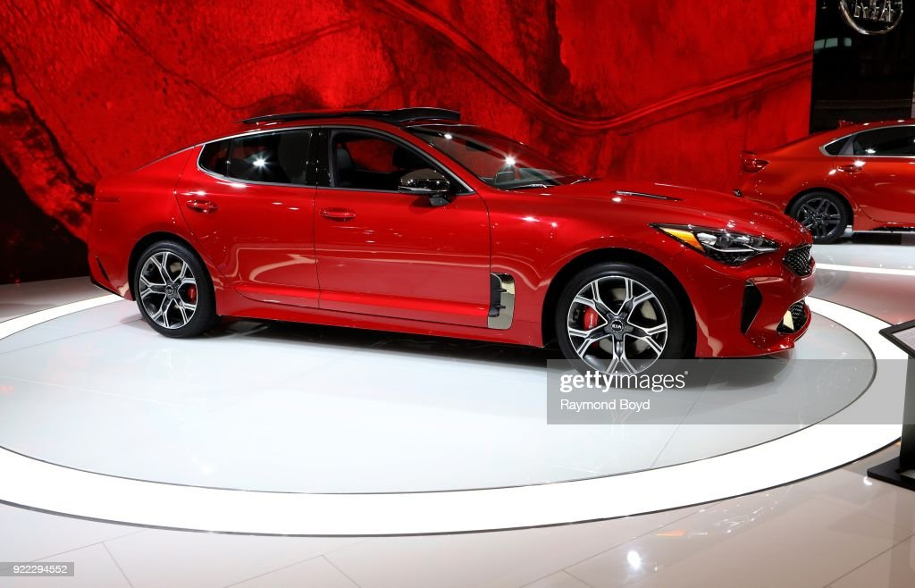 Stinger GT2 AWD V6 is on display at the 110th Annual Chicago Auto Show at McCormick Place in Chicago, Illinois on February 9, 2018.