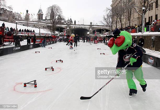 Stinger mascot for the Columbus Blue Jackets skates during the Canadian Tire NHL Junior Skills Competition at Rideau Canal Skateway on January 28...