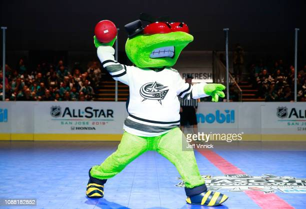 Stinger of the Columbus Blue Jackets participates in the 2019 NHL AllStar Mascot Showdown on January 24 2019 in San Jose California
