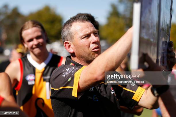 Stingrays head coach Craig Black at three quarter time during the round three TAC Cup match between Dandenong Stingrays and Greater Western Victoria...